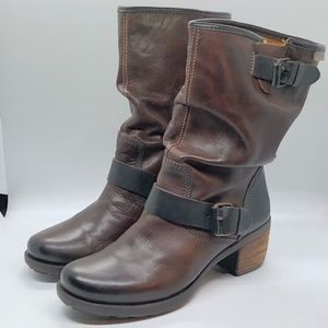 Pikolinos Olmo Slouchy Heeled Brown Boots/Booties